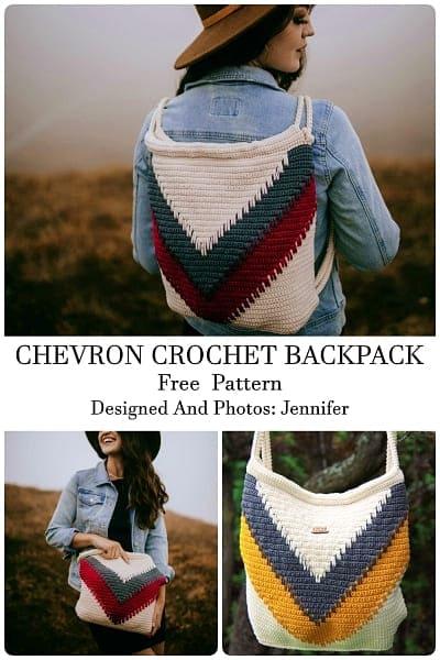chevron crochet backpack free pattern for teen girl
