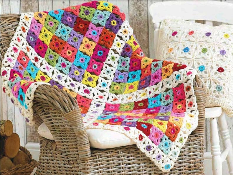 Granny Square Pattern Crochet Blanket and Cushion Cover