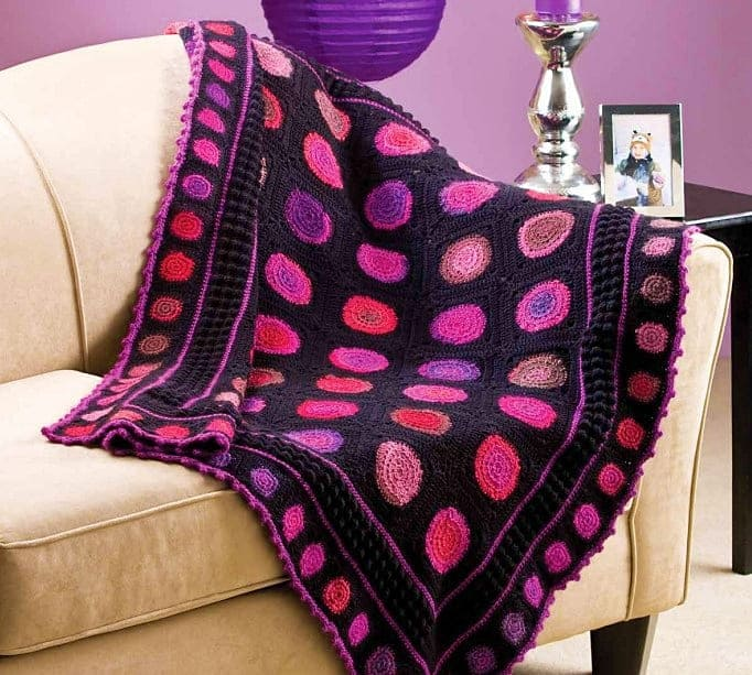 tiddlywinks throw afghan crochet blanket with granny square