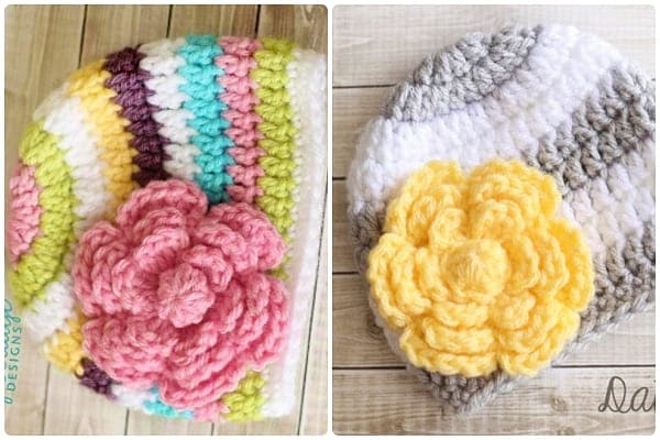 crochet hat flower free patterns