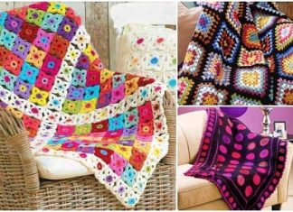 free crochet blanket with granny square pattern