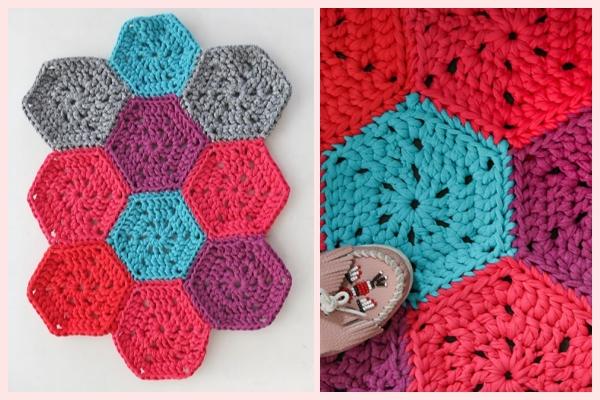 Chunky Hexie Crochet Rug Pattern