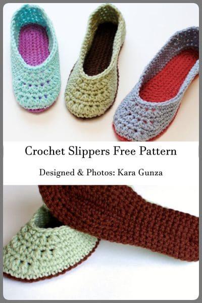 crochet slippers free pattern designed by Kara Gunza