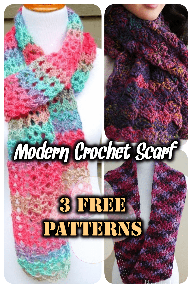 3 modern crochet scarf patterns free