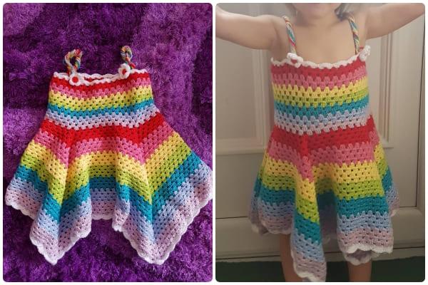 Rainbow Crochet summer dress for kids girl free pattern