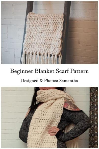 for beginner blanket scarf pattern free