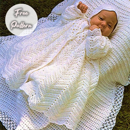 crochet coat and bonnet free pattern for newborn baby