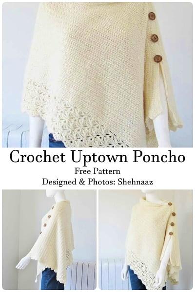 crochet uptown poncho free pattern