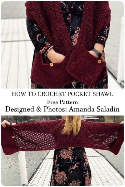 how to crochet pocket shawl pattern free
