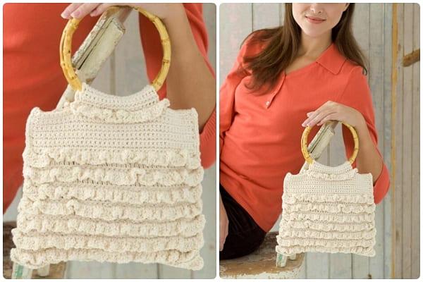 ruffled crochet handbag free pattern