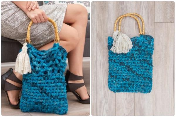 red heart tassel crochet handbag free pattern