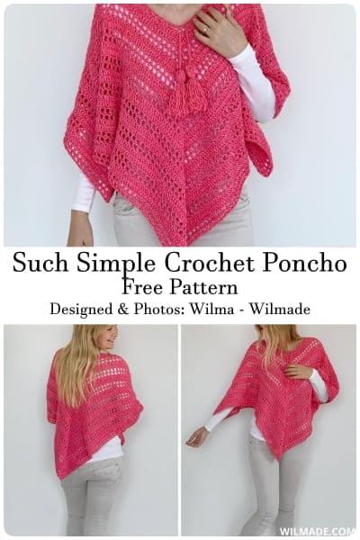 easy crochet poncho pattern free