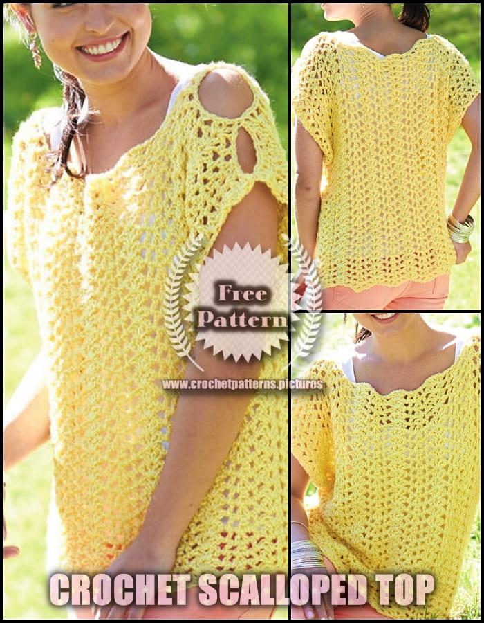 2021 crochet scalloped top free pattern