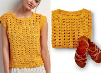 2021 yellow crochet top free pattern