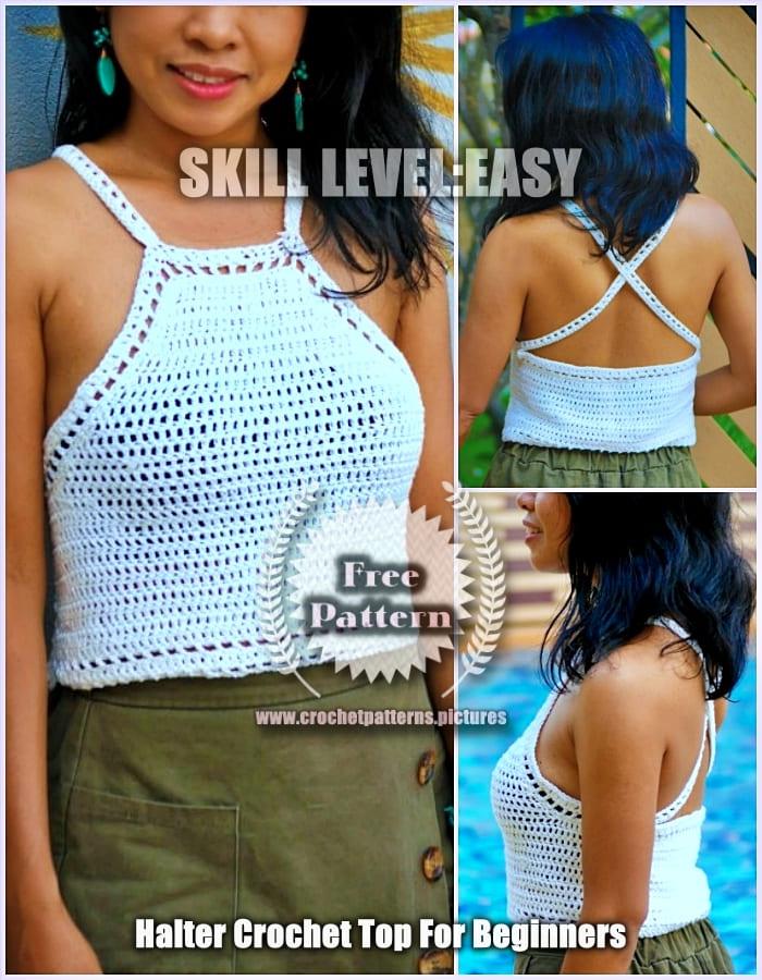 2021 White Halter Crochet Top Easy Free Pattern