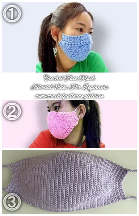 3 crochet face mask different patterns