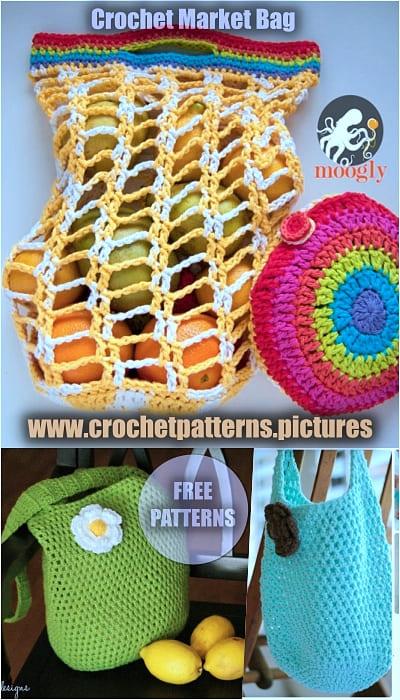 2021 crochet market bag free patterns