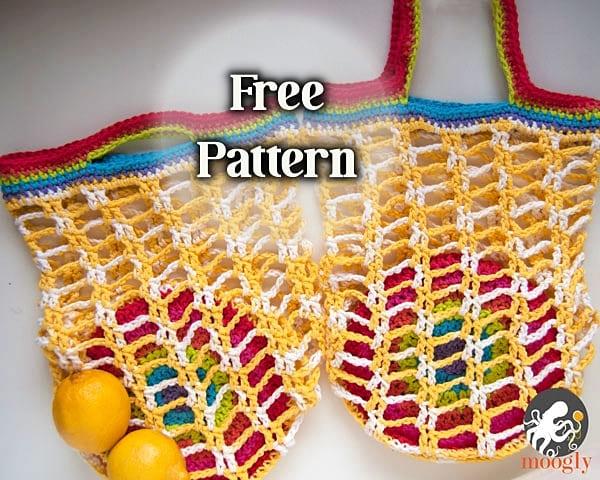 rainbow pocket crochet market bag free pattern