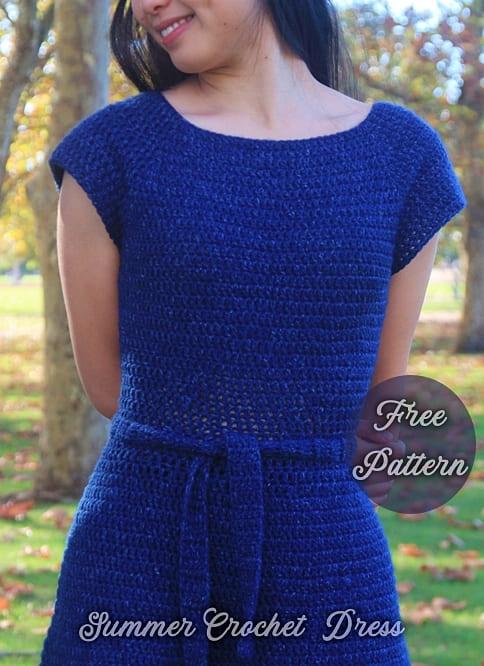 blue crochet summer dress free pattern