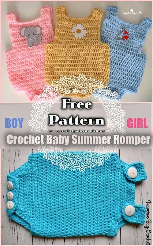 2 crochet baby summer romper free patterns