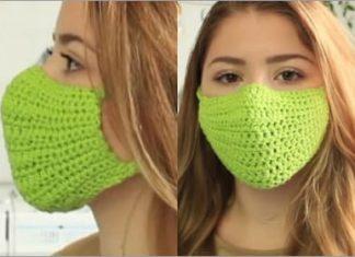 green crochet face mask very easy free pattern