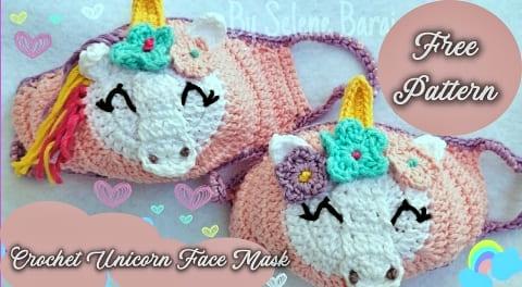 unicorn crochet face mask free pattern for kids beginners video tutorial