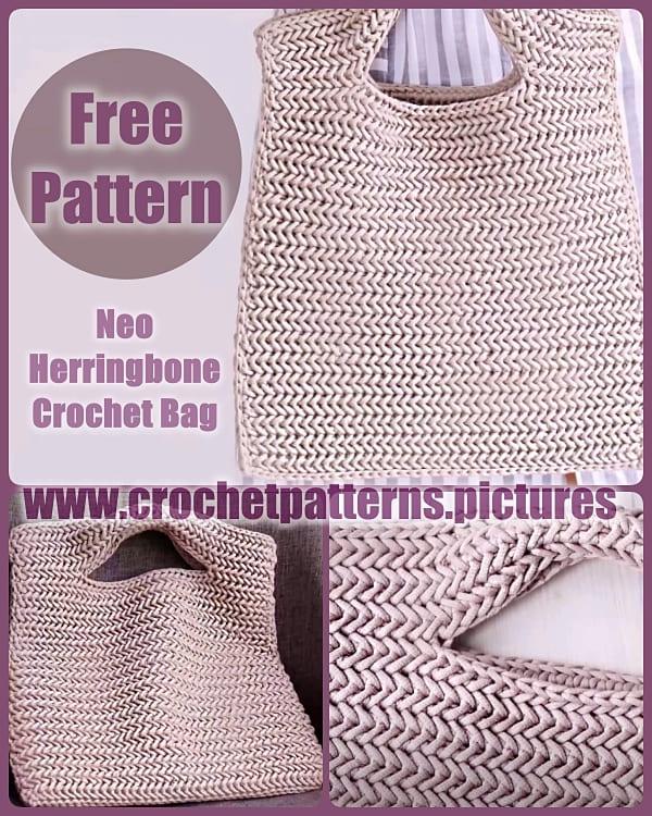 neo herringbone crochet hand bag free pattern