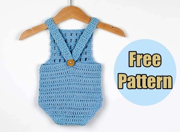 crochet baby romper, crochet baby romper free pattern, crochet baby romper pdf download