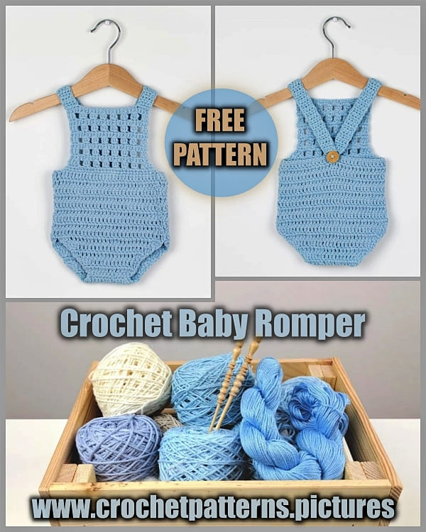 blue crochet baby romper free pattern for summer