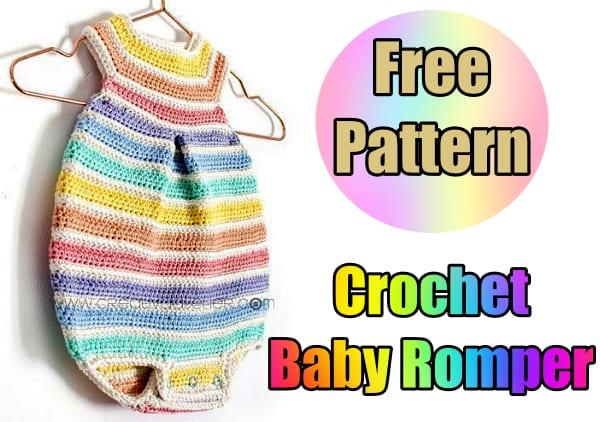 rainbow crochet baby romper free pattern for beginners tutorial