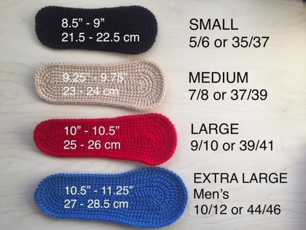crochet converse sizes