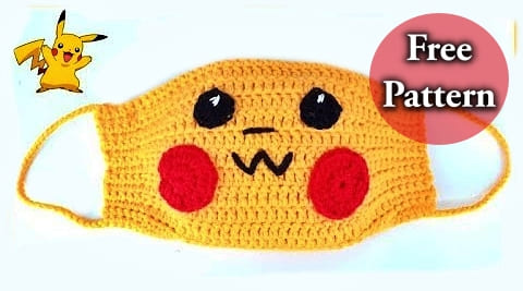 crochet pokemon pikachu face mask for kids free pattern and for beginners video tutorial