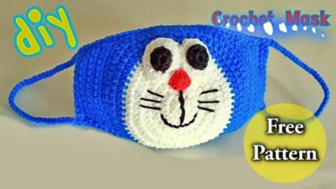 doraemon crochet face mask for kids free pattern