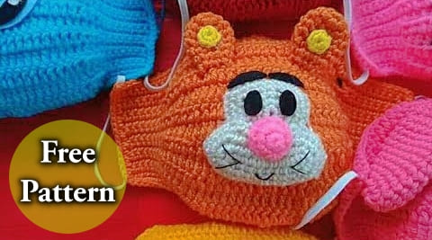crochet winnie the poohs tiger face mask free pattern for kids and for beginners video tutorial