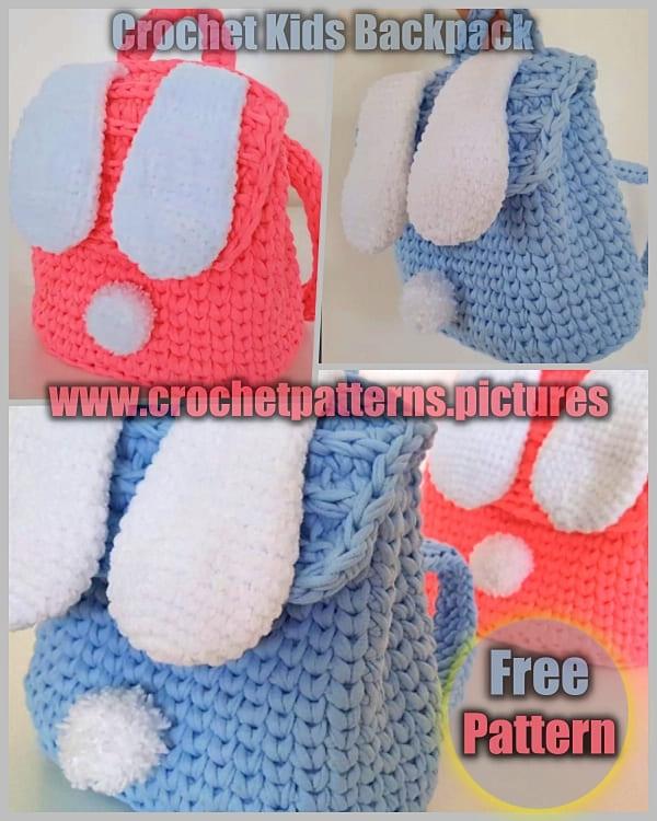 crochet kids backpack free pattern, crochet kids backpack, crochet kids bag