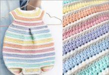 rainbow crochet baby romper