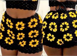 crochet summer floral short free pattern