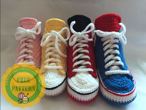 crochet converse adult free pattern for beginners video tutorial