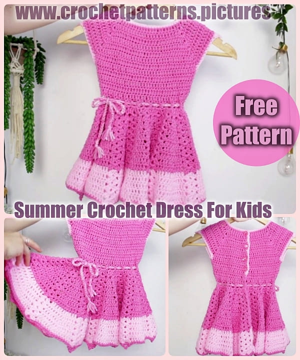 Pink summer crochet dress for kids