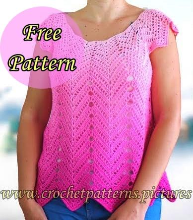 crochet summer top, crochet chevron, crochet Lace Blouse, crochet free pattern