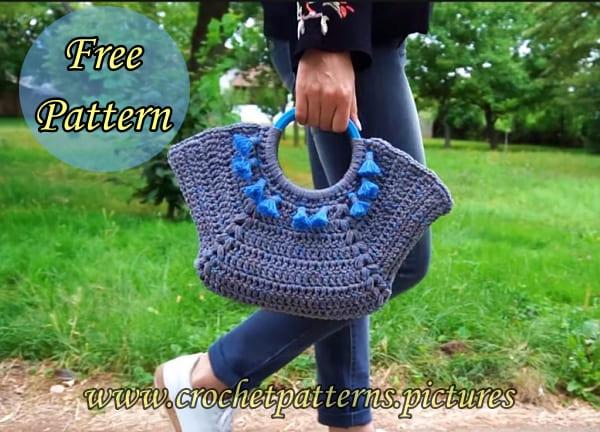 crochet handbag, crochet bag, crochet bag free pattern, crochet bag tutorial video, crochet bag for beginners