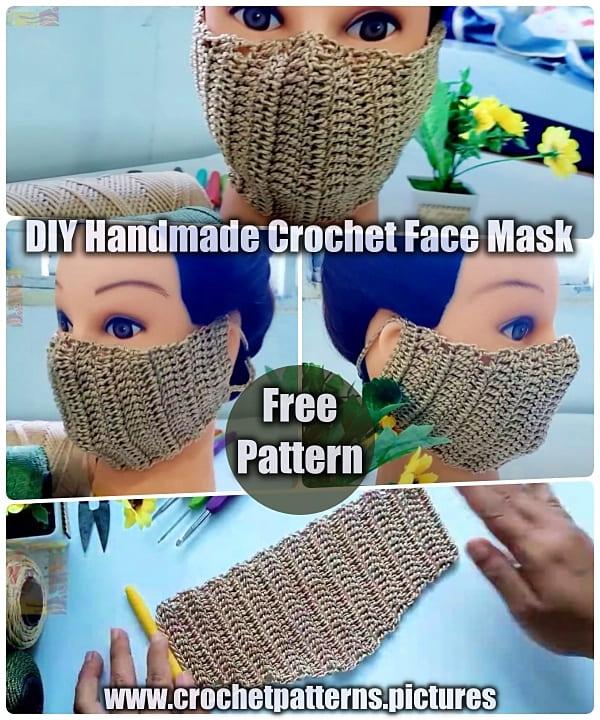 crochet face mask free pattern, diy face mask, handmade face mask, easy crochet free patterns