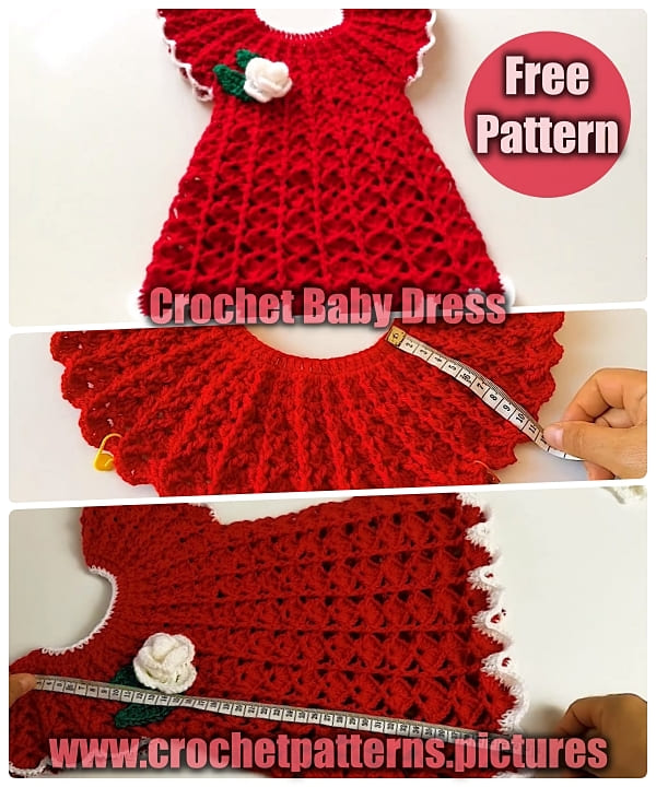 red crochet baby dress, crochet baby dress free pattern