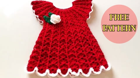 red crochet baby dress, crochet baby dress, crochet baby dress free pattern