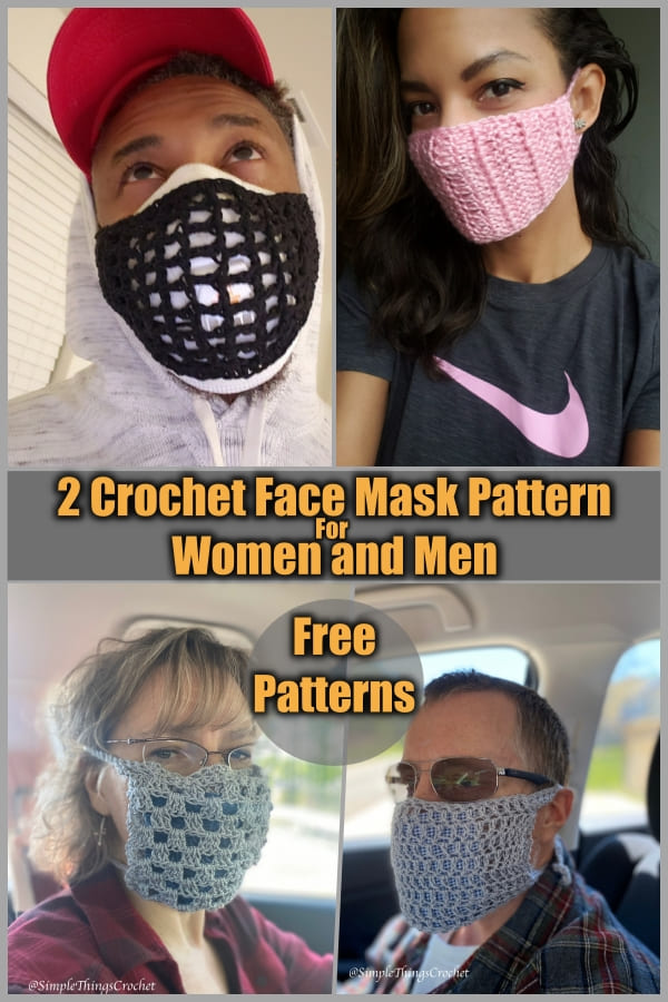 2 crochet face masks free pattern for man and woman